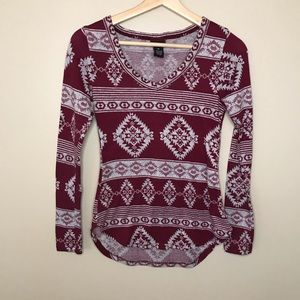 RUE21 Long Sleeve Rounded Hem Top with Aztec Print